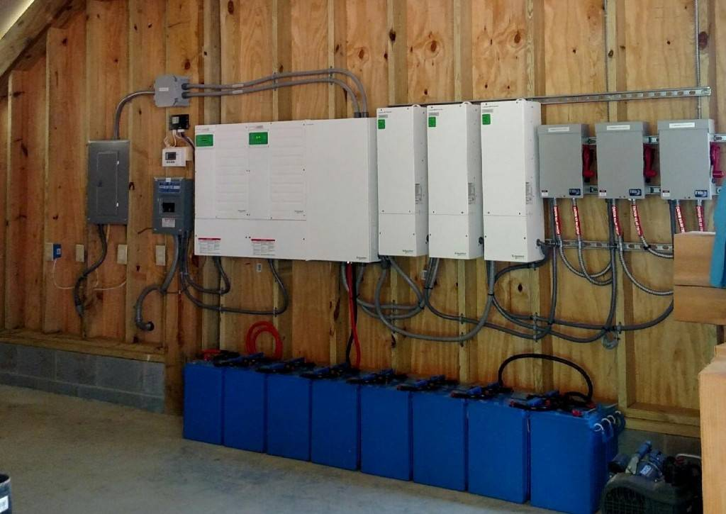 Here's a look at the battery bank and inverters that will be powering the home.